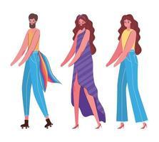 Dibujos animados de hombres y mujeres con diseño de vectores de disfraces