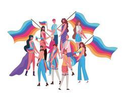 Dibujos animados de mujeres y hombres con disfraces y diseño de vectores de banderas lgtbi