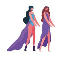 Transvestite men cartoons with costumes vector design
