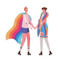 Dibujos animados de mujeres con disfraces y diseño de vector de bandera lgtbi
