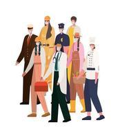 trabajadores de hombres y mujeres con máscaras de diseño vectorial vector