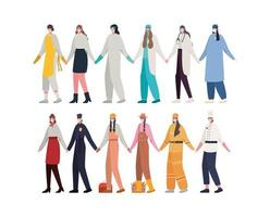 Women workers with masks vector design