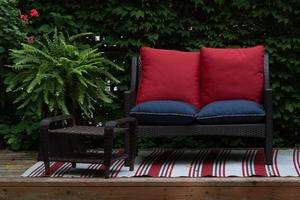Outdoor sofa and table photo