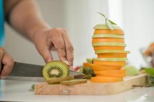 Fresh sliced kiwi fruit photo