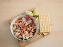 Classic fish ceviche with lime