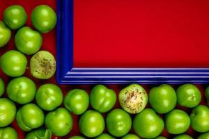 marco azul con ciruelas verdes agrias foto