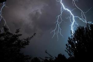 Lightning strike during a thunderstorm