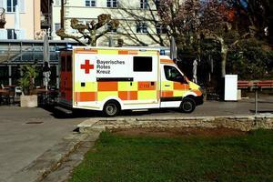 German ambulance parked at the hospital