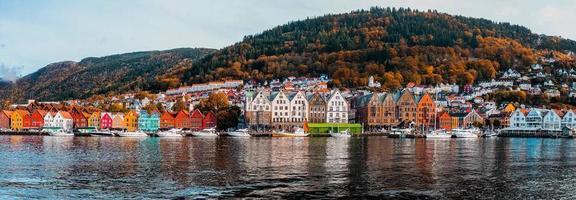 Panorama of Norwegian seaside town photo