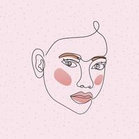 line woman face with hair and mouth in pink background vector