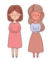 dos mujeres avatares dibujos animados diseño vectorial vector