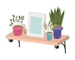 Wood shelf with plants inside pots and frame vector design