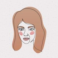 line woman face with a pink background vector