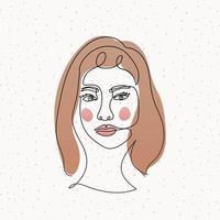 cara de mujer de línea sobre un fondo blanco vector