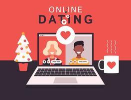 concepto de aplicación de citas en línea con hombre y mujer. Ilustración de vector plano con mujer rubia blanca y hombre africano en la pantalla del portátil.