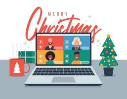 Christmas online greeting. People meeting online together with family or friends video calling on laptop virtual discussion. Merry and safe Christmas office desk workplace. Flat vector illustration