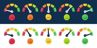 Speedometer, tachometer icon collection. Colour speedometer set. Scale from red to green performance measurement. Rating satisfaction concept with emotions vector illustration