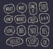 Set of different speech bubble in doodle style with text no, stop, ok, yes, love, sos, what and other inside. Vector illustration