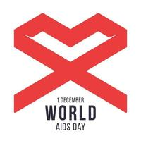 World AIDS day 1 December red geometric loop ribbon symbol hope and support. Red heart shape. Vector illustration