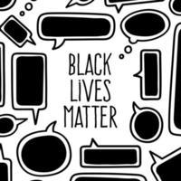 las vidas negras importan. Burbujas de chat pancarta de protesta sobre los derechos humanos de los negros en Estados Unidos. ilustración vectorial.