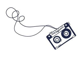Hand Drawing Audio Cassette Vector Illustration. Scribble Music Cassette in Doodle Style