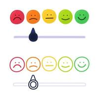 Feedback or rating scale with smiles representing various emotions in hand draw style. Customer's review and evaluation of service or good. Colorful vector illustration in doodle style