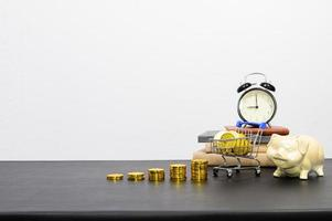 Concept of financial growth with alarm clock