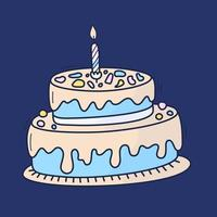 Birthday cake with candle. Symbol of celebration. Doodle cartoon Hand drawn vector illustration.