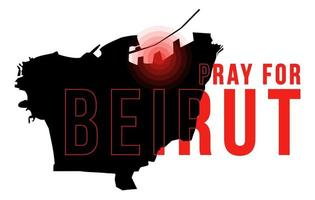 Pray for Beirut Vector illustration with Beirut map on black background concept of Praying, mourning, humanity for Beirut Lebanon massive explosion