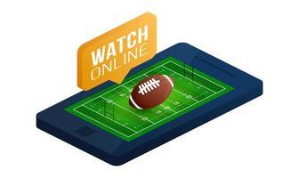 vista isométrica del deporte del campo de rugby para web, aplicación. ilustración vectorial aislado sobre fondo blanco. vista superior de un campo para el campo de diseño de juegos vector