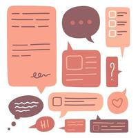Set of cute speech bubbles vector Icon collection. Hand drawn doodle. Decorative design elements. Colorful vector illustration in flat style.