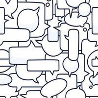 Ilustración de vector de patrones sin fisuras de burbujas de discurso dibujado a mano sobre fondo blanco. Doodle charla o patrón de burbuja de chat