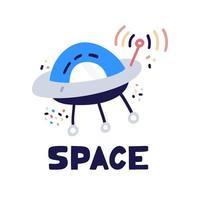 icono de vector de nave espacial ovni. pegatina de dibujos animados de nave espacial alienígena de estilo plano.