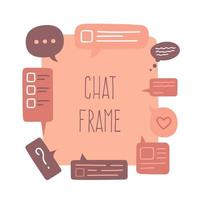 Big empty frame area made from colorful small chat or speech bubbles. Vector hand drawn illustration