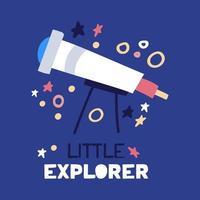 Cartoon flat telescope. Flat vector illustration with text little explorer on blue background.