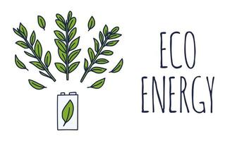 Eco energy or green power illustration with a white battery and sprigs leaves on a white background in doodle style. Vector illustration