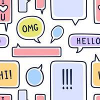 Ilustración de vector de patrones sin fisuras de burbujas de discurso dibujado a mano sobre fondo blanco. Doodle charla o patrón de burbuja de chat.