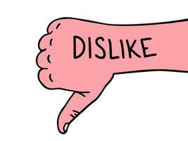 Hand dislike. Thumb down. Hand drawn dislike doodle icon. Hand drawn sketch. Sign symbol. vector