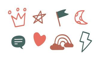 A set of doodle sticker icons. Cute icons drawn by hand. Vector graphics crown, chat, cloud, rainbow, lightning, flag and heart icons