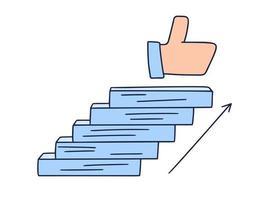 se acerca a los similares. Ilustración de vector doodle dibujado a mano con escalones o escaleras encima de la cual hay un ícono del pulgar hacia arriba. el camino hacia el éxito y la consecución de objetivos. ilustración vectorial