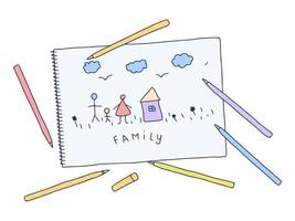 Child's Drawing. Vector hand drawn illustration of child's drawing family on a white paper in doodle style.