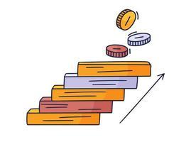 se acerca a la moneda. Ilustración de vector doodle dibujado a mano con escalones o escaleras encima de la cual hay un icono de la moneda de dinero. el camino hacia el éxito y el logro de metas