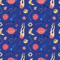 Space vector seamless pattern of planets, orbits, flying saucer, stars. Cartoon flat style cosmos background. Vector illustration. Cartoon icons.