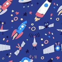 Patrón transparente de vector con cohetes, satélite, ovni, estrellas. fondo de niños cosmos de estilo plano de dibujos animados