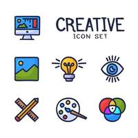 Hand Drawn Creativity Graphic and Web Design Line Icons. Cartoon Doodle Vector Icon Palette, Bulb Idea, Pencil, Ruler, Monitor, Art and Other
