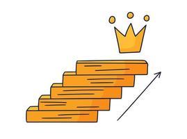 pasos hasta la corona. Ilustración de vector doodle dibujado a mano con escalones o escaleras encima del cual hay un icono de la corona. el camino hacia el éxito y el logro de metas
