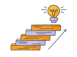 se acerca a la bombilla. Ilustración de vector doodle dibujado a mano con escalones o escaleras encima de la cual hay un icono de la idea de la bombilla. el camino hacia el éxito y el logro de metas