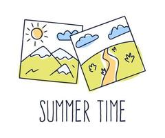 Hand drawn Vector illustration of a gallery picture and text summer time. Cartoon Doodle photography with landscape mountain and field. Isolated on white background.