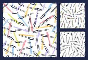 Colorful pens pattern set in cartoon style. Seamless texture with pens. Doodle vector elements. Back to school background. Hand drawn sketch.