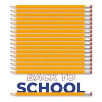Back to school creative illustration design with realistic pencil and text. Vector design